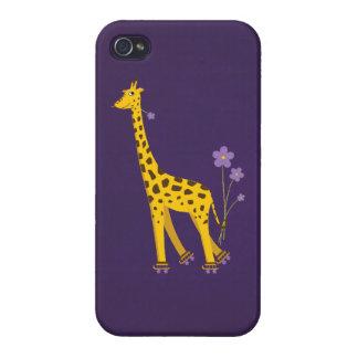 Glatte lila niedliche Skaten-Cartoon-Giraffe iPhone 4 Hüllen