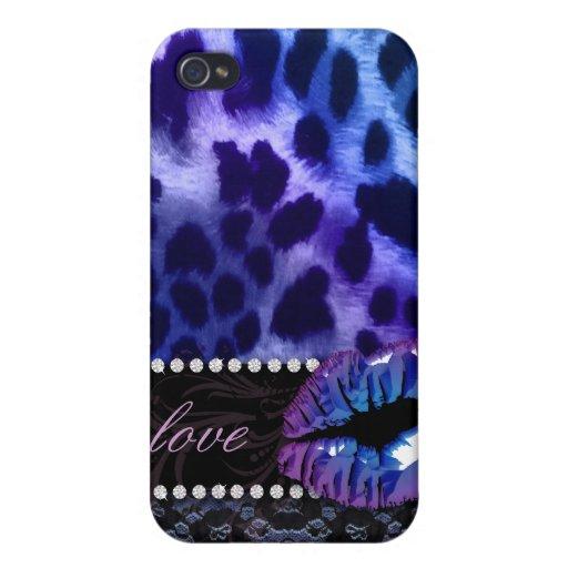Glatte Lippen'n-Spitze-Leopard iPhone 4 Abdeckungs iPhone 4 Etui