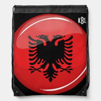 Glatte runde albanische Flagge Sportbeutel