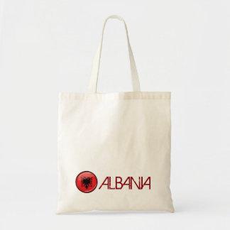Glatte runde albanische Flagge Tragetasche