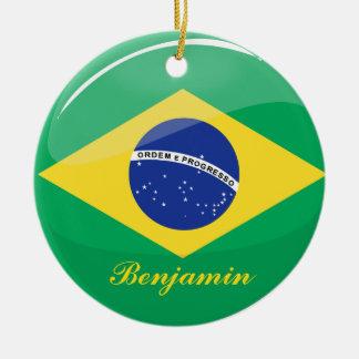 Glatte runde brasilianische Flagge Keramik Ornament