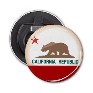 Glatte runde Flagge von Kalifornien Flaschenöffner