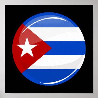 Glatte runde Flagge von Kuba Poster