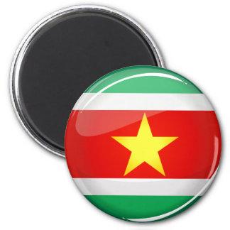 Glatte runde Flagge von Surinam Runder Magnet 5,7 Cm