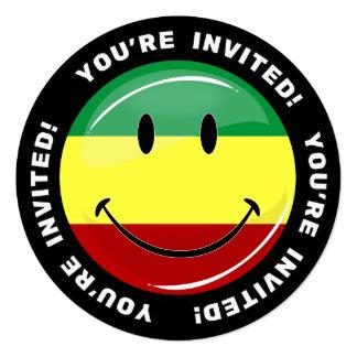 Glatte runde glückliche Rasta Flagge Quadratische 13,3 Cm Einladungskarte