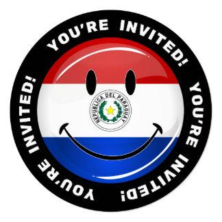 Glatte runde lächelnde Paraguay-Flagge Quadratische 13,3 Cm Einladungskarte