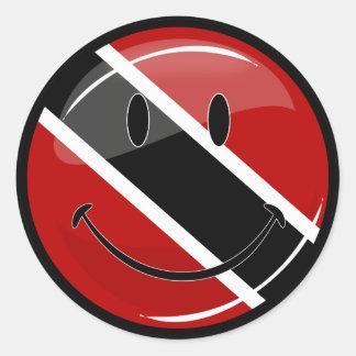 Glatte runde lächelnde Trinidad und Tobago-Flagge Runder Aufkleber