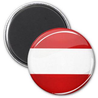 Glatte runde österreichische Flagge Runder Magnet 5,7 Cm