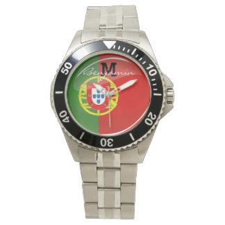 Glatte runde portugiesische Flagge Uhr