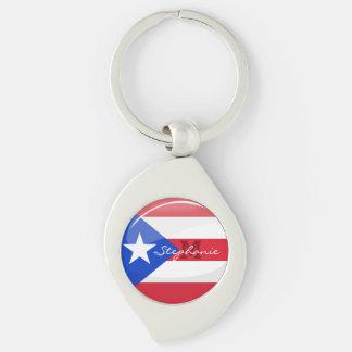 Glatte runde puertorikanische Flagge Schlüsselanhänger