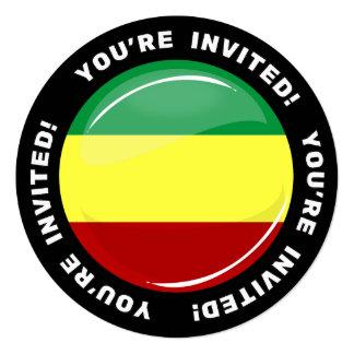 Glatte runde Rasta Flaggen-Gewohnheit laden Quadratische 13,3 Cm Einladungskarte
