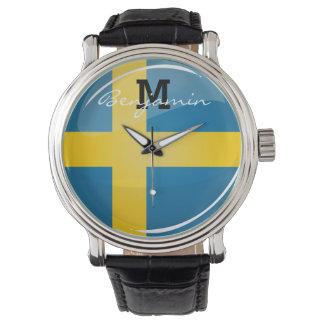 Glatte runde schwedische Flagge Armbanduhr