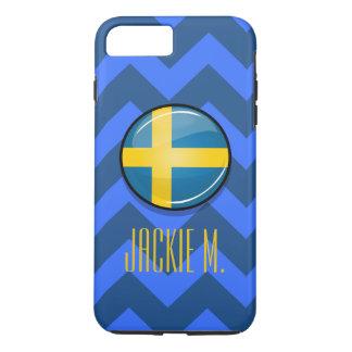 Glatte runde schwedische Flagge iPhone 8 Plus/7 Plus Hülle