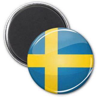 Glatte runde schwedische Flagge Runder Magnet 5,1 Cm