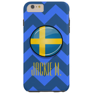 Glatte runde schwedische Flagge Tough iPhone 6 Plus Hülle