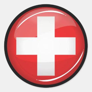 Glatte runde Schweizer Flagge Runder Aufkleber