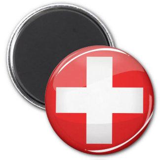 Glatte runde Schweizer Flagge Runder Magnet 5,7 Cm