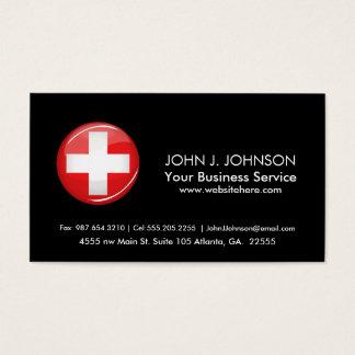 Glatte runde Schweizer Flagge Visitenkarten