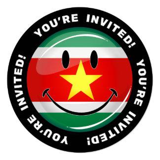 Glatte runde Surinam-Flagge Quadratische 13,3 Cm Einladungskarte
