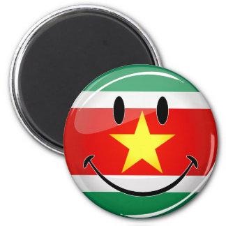 Glatte runde Surinam-Flagge Runder Magnet 5,1 Cm