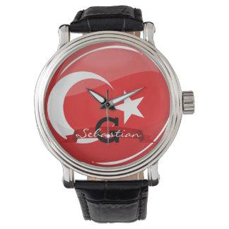 Glatte runde türkische Flagge Armbanduhr