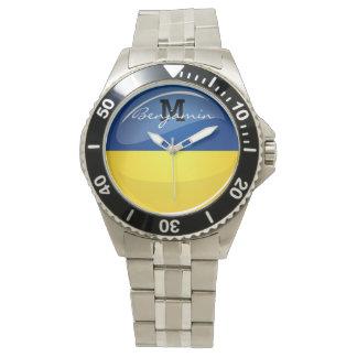 Glatte runde ukrainische Flagge Armbanduhr