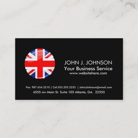 Glatte Runden Britische Englische Flagge Visitenkarte