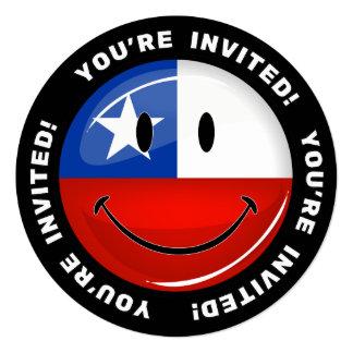 Glatte Runden-lächelnde chilenische Flagge Quadratische 13,3 Cm Einladungskarte