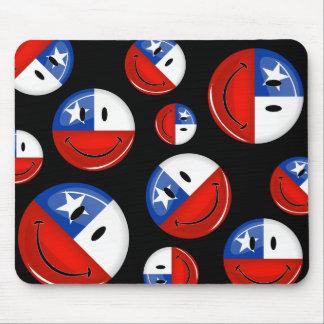 Glatte Runden-lächelnde chilenische Flagge Mousepad