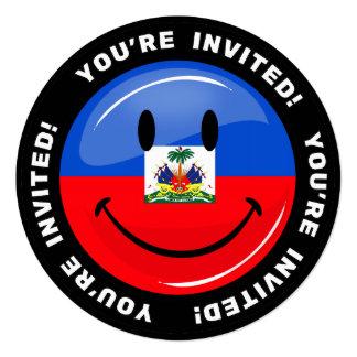 Glatte Runden-lächelnde haitianische Flagge Quadratische 13,3 Cm Einladungskarte