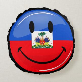 Glatte Runden-lächelnde haitianische Flagge Rundes Kissen