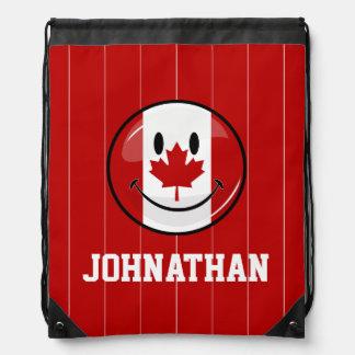 Glatte Runden-lächelnde kanadische Flagge Sportbeutel