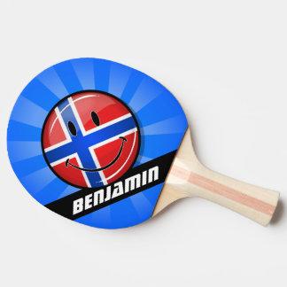 Glatte Runden-lächelnde norwegische Flagge Tischtennis Schläger