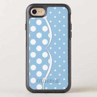 Glatte weiße Tupfen auf Pastellblau OtterBox Symmetry iPhone 8/7 Hülle