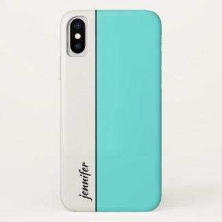Glatter Art-Farbblock mit Ihrem Namen iPhone X Hülle