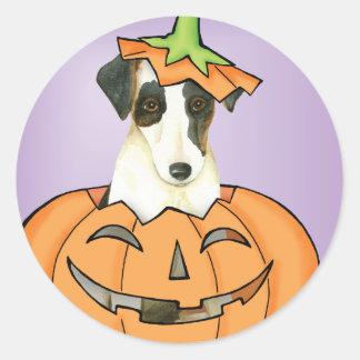 Glatter Foxterrier Halloweens Runder Aufkleber
