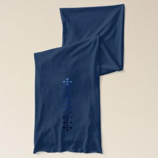 Glatter glänzender Marine-Blau-karierter Schal