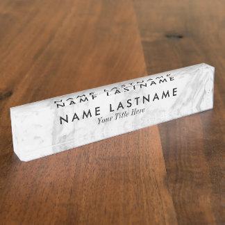 Glatter graues Weiß-Marmor-kundenspezifisches Namensplakette