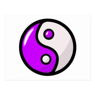 Glatter lila Yin Yang in der Balance Postkarte