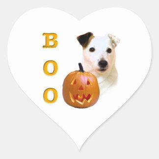 Glatter Mantel-Pastor-Russell Terrier Halloween Herz-Aufkleber