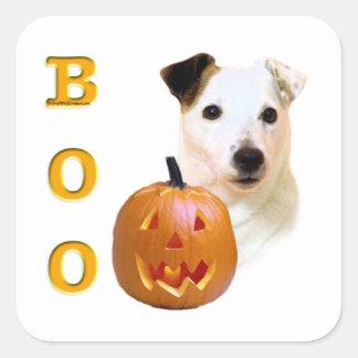 Glatter Mantel-Pastor-Russell Terrier Halloween Quadratischer Aufkleber