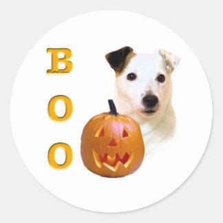 Glatter Mantel-Pastor-Russell Terrier Halloween Runder Aufkleber