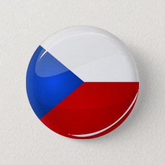 Glatter runder Tscheche-Repräsentant. Flagge Runder Button 5,7 Cm