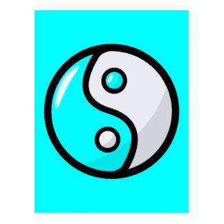 Glattes Aqua Yin Yang in der Balance Postkarte