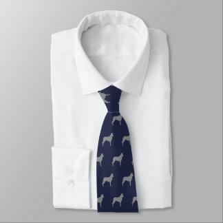 Glattes Collie-Silhouette-Muster-Marine-Blau Individuelle Krawatten