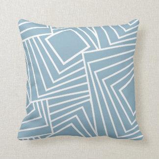 Glattes geometrisches Muster im frischen Blau Kissen