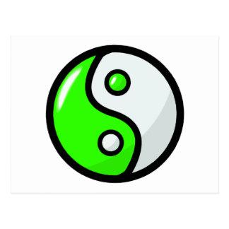 Glattes grünes Yin Yang in der Balance Postkarte