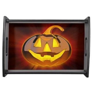 Glattes Halloween-Kürbis-Serviertablett Tablett