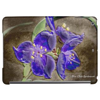 Glattes iPad Air ケース der blauen Spiderwort-Blumen