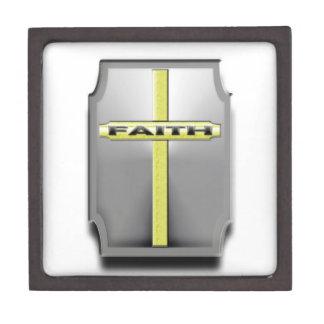 GLAUBE christliches Quersilber und Goldschild Schachtel